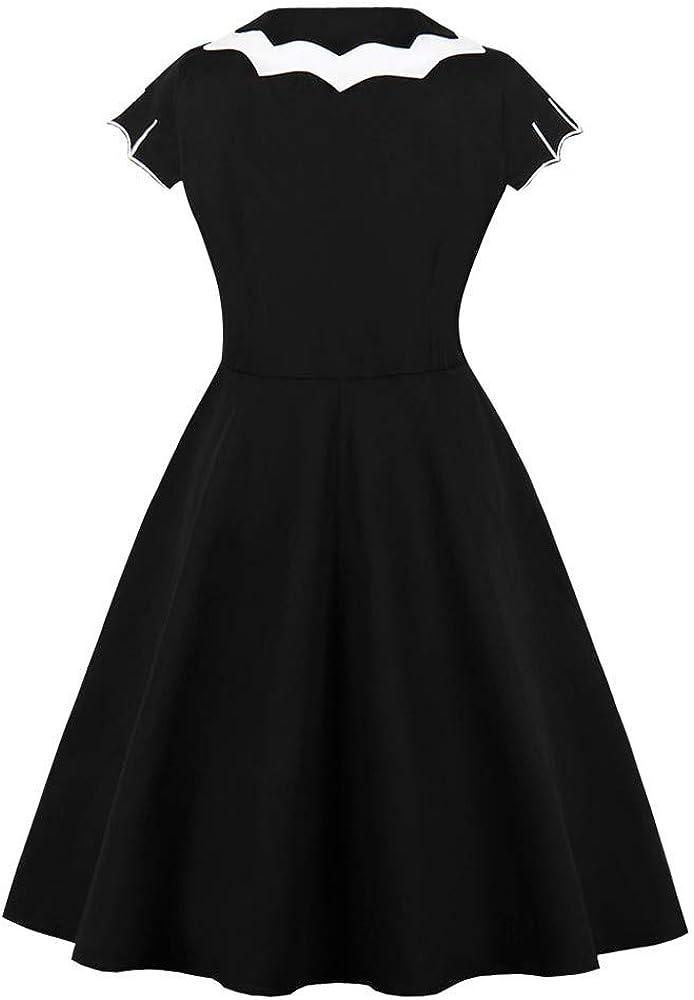 VEKDONE Women Halloween Dress 1950s Vintage Bat Spider Web Novelty Printed Evening Prom Swing Party Dress