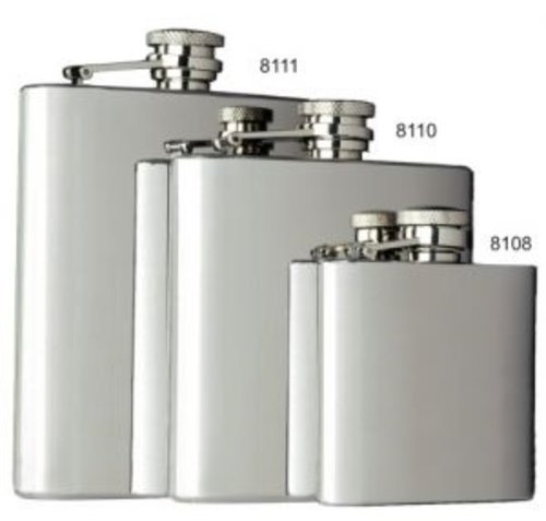 6 Ounce, Smooth Captive Top All Stainless Steel Pocket Flask