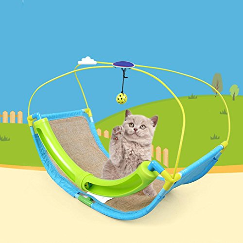 Price comparison product image Makaor Cat Hammock Cat Bed With Ball Toys Pet Exercise Puzzle Cradle Cat Bed Sofa By (Expanded Size: about 60cmx33cmx46cm,  Multicolor)