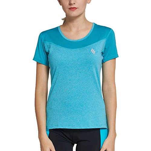 BELE ROY Women Moisture Wicking Running Short Sleeve T Shirts,Yoga Tank top for Women, Athletic T Shirts Shorts(M Green)