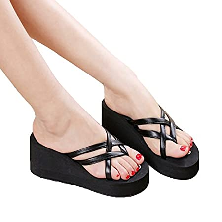 421ef830c005f3 Pingenaneer Flip-flops Women s High Platform Thong Sandals Criss Cross  Strappy Braided Straps Slip On