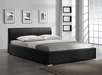 Cama de cuero estructura de cama armazones negro 160x200cm cama ...
