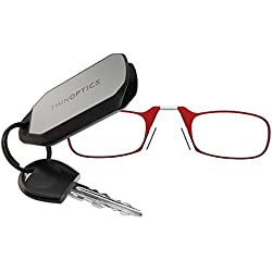 ThinOptics Reading Glasses + Keychain Case | Red Frames, 1.00 Strength