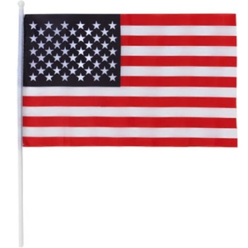 Mini American Flags on Plastic Sticks, 11 In. X 7 In. - 3/pk
