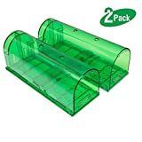 Yomitek 2-Pack Humane Mouse Trap Air Holes,Rodent Trap,Mice Cage Catcher,Live Catch Release Trap,No Killing, No Chemical,Safe Children Pet,Reusable Rat Rodent Cage Catcher Indoor & Outdoor