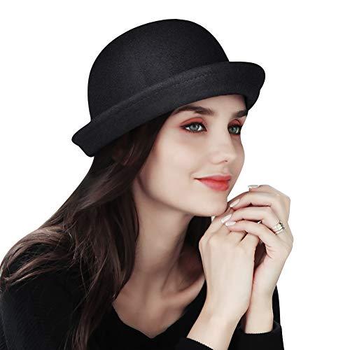 - VBIGER Bowler Hat Fedora Hats Winter Roll-up Brim Derby Hats for Women (New Black)