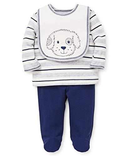 Little Me Baby Boys Lap Shoulder Set with Bib, Puppy Stripe Marshmallow/Medieval Blue ()