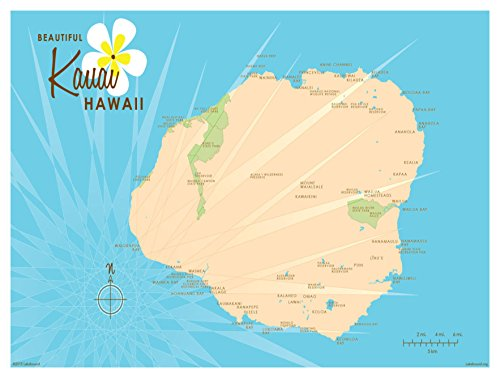 Kauai Blue Vintage-Style Map Art Print Poster by Lakebound (9
