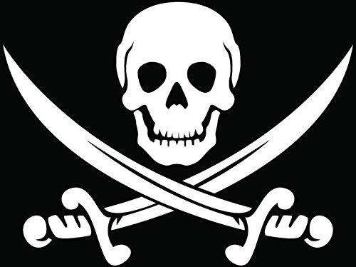 Pirate Jolly Rogger Swords Skull Crossbones Car Truck Window Bumper Vinyl Graphic Decal Sticker- (6 inch) / (15 cm) Wide GLOSS WHITE Color