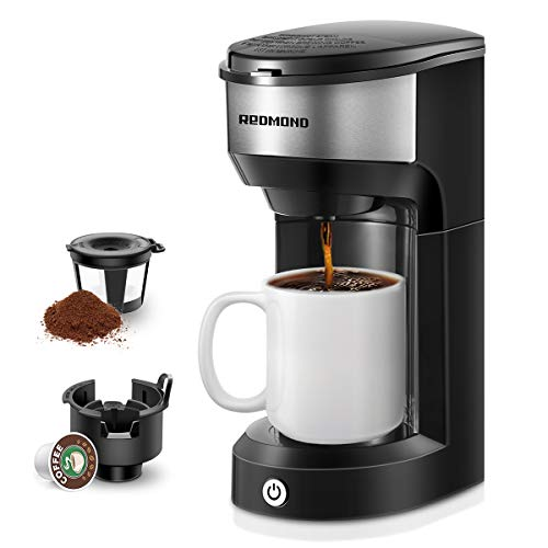 REDMOND Single Cup Coffee Maker Brewer, Compatible With Single Serve Pod & Grounds, 1000W, 6 to 14 OZ Brew Sizes, 90s…