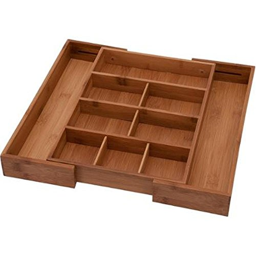 Bamboo Expandable Junk Drawer Organizer Tray with Adjustable Dividers