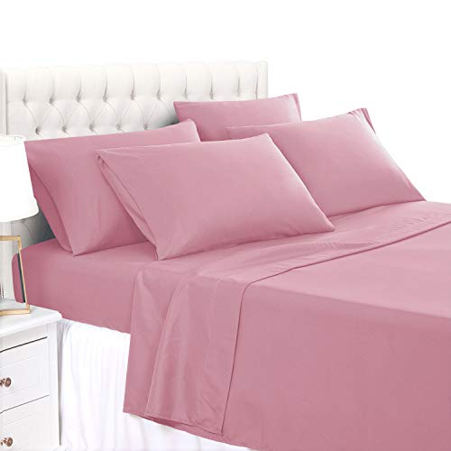 BASIC CHOICE 6 Piece Sheet Set - Luxury Soft 2000 Series Wrinkle & Fade Resistant Bed Sheets - King, Rose Pink