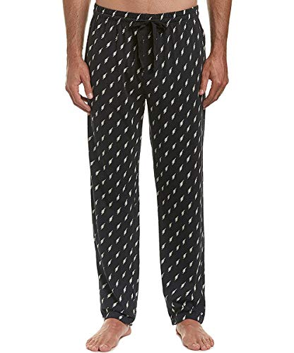 (Happy Socks Men's 100% Cotton Woven Pajama Sleep Lounge Pants (Black/White, Small))