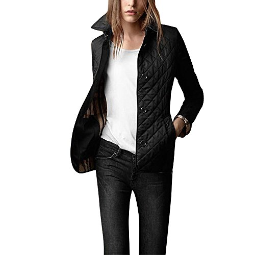 Guandoo Women's Diamond Quilted Jacket Stand Collar Lapel Button End With Pocket Coat, Black, (Womens Quilted Button)