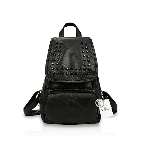 Yoome Black Rivet Studded Light Weight Backpack Ladies Tote Bag Shoulder Bag Black by Yoome