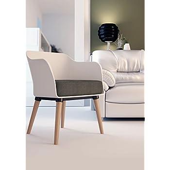 Amazon Com Cali Modern Mid Century Accent White Armchair