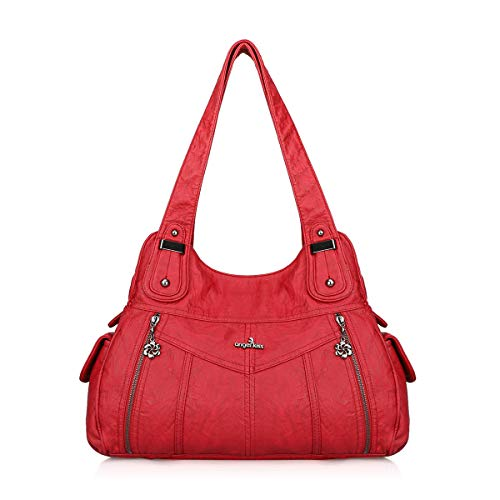 (Angelkiss Women Soft Leather Hobo Shoulder Bag Ladies Top-handle Zipper Purses and Handbags (Red))