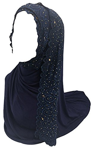 Ababalaya Women's Muslim Islamic Soft Breathable Rhinestones Lace Wedding Hijab 67×30 inch,Navy Blue by Ababalaya