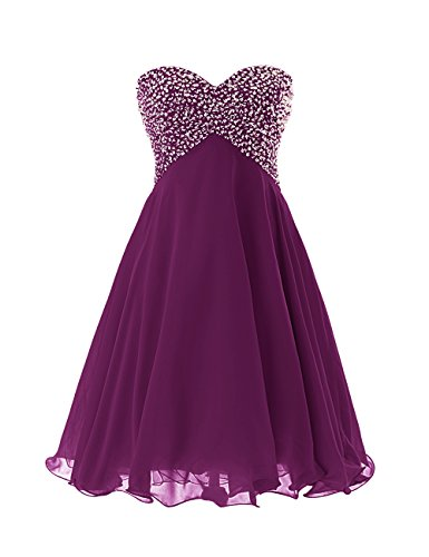 Dressystar Sweety Girls Cocktail Homecoming Gowns Prom Pageant Dress Lace-up Size 4 Grape