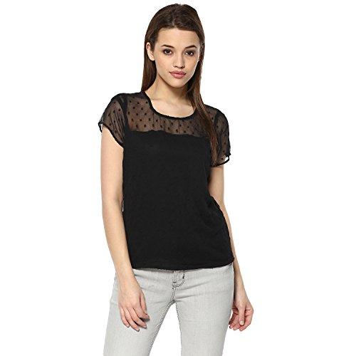 mayra Women's Georgette Black Color Half Sleeve Top