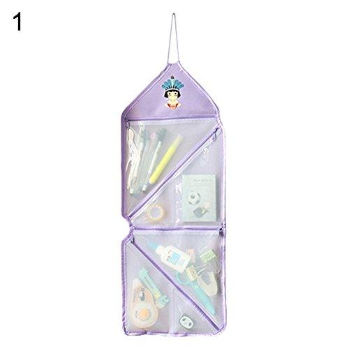 (angel3292 Transparent Wall Door Hanging Pockets Organizer Kitchen Bathroom Storage Bag)
