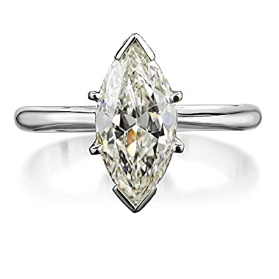 Sterling Silver Marquise Cut Cubic Zirconia CZ Solitaire Engagement Ring Platinum Plating Size 6-8