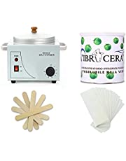 Single Wax Heater Machine Hair Removal, Waxing Kit Wax Warmer for Body Hair Removal with 600ml Apple Wax, 100 Pcs Wax Paper Strip and 10 Pcs Wood Spatula