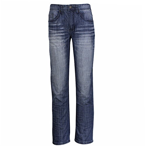 BUFFALO Blu Men's Drew Basic Zip Fly Medium Sanded Straight Jeans Sz: 32x30 ()