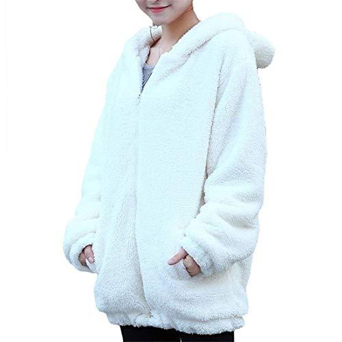 Invierno Outwear Abrigos Blanco Manga Mujer Retro Larga Casual Anchas Con Plush Prendas Termica Otoño Vellón Exteriores Capucha Chaqueta q6IwT0x