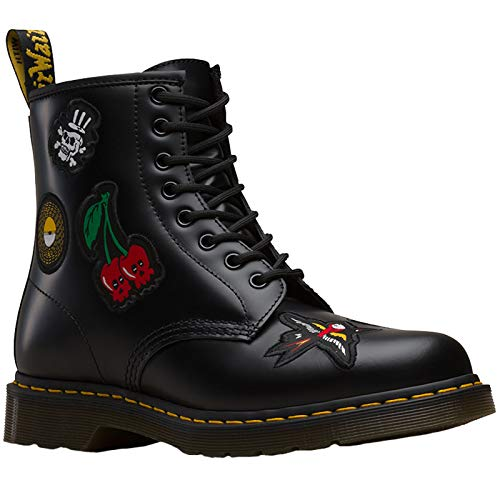 12ed6d4cca6b44 Eyelet Unisex uk Martens Black 8 Rock Dr 42 amp  1460 Roll Boots Leather eu  Patch THnAfqv