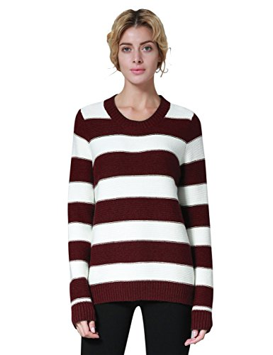 - Ninovino Women's Crew Neck Stripe Pullover Cashmere Sweater Red & White-M