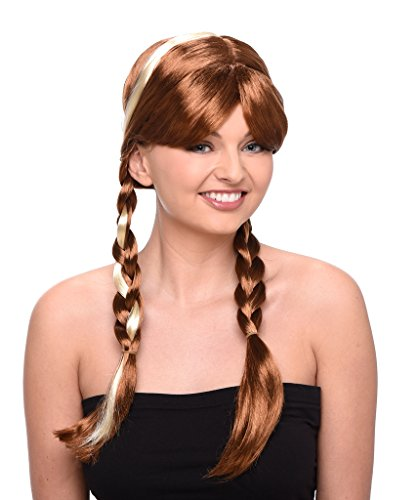 Princess Wig - Long Brown Wig with Double Braids for Cosplay and Costume Dressup