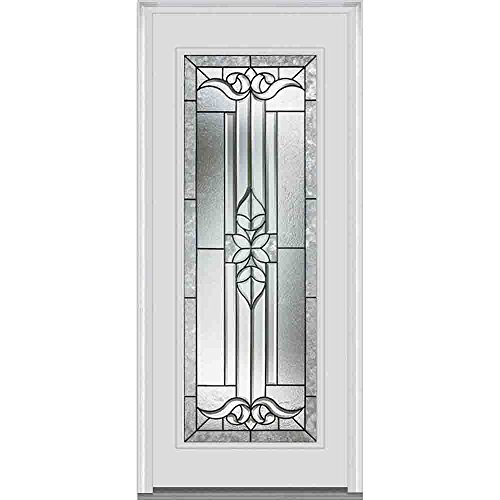National Door Company ZA06867L Fiberglass Left Hand Prehung In-Swing Entry Door, Cadence Decorative Glass, Full Lite, Smooth Brilliant White, 32