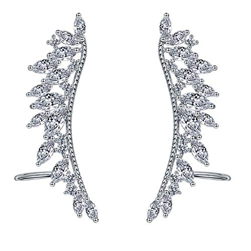 EVER SHINE Angel Wings CZ Crystal Ear Cuff Vines Climbers Crawlers Clip On ()