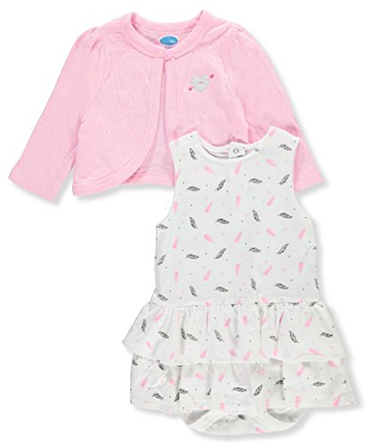 Bon Bebe Baby Girls' 2-Piece Outfit - Pink/Multi, 18 (Pointelle Jersey Dress)