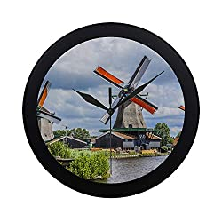 THKDSC Modern Simple Dutch Windmills Along A Canal Wall Clock Indoor Movement Wall Clcok for Office,Bathroom,livingroom Decorative 9.65 Inch