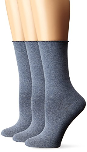 HUE Women's Jeans Sock (Pack of 3), Denim Heather One Size