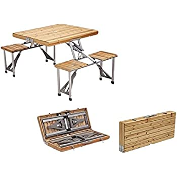 Plixio Portable Folding Wooden Picnic Table With 4 Bench Seats