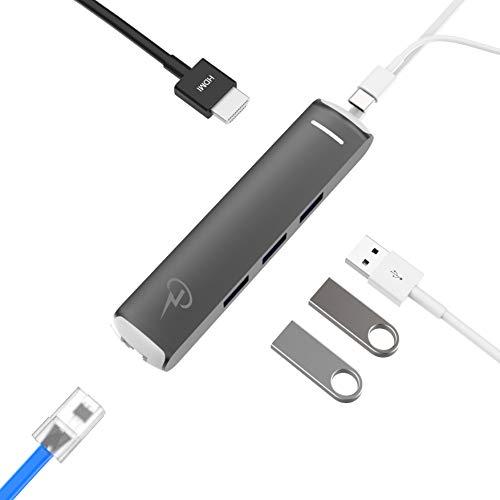 CharJenPro USB C Hub for MacBook Pro 2019-2016, MacBook Air 2018-2019, iPad Pro 2018-2019, Samsung Galaxy, Gigabit Ethernet, HDMI 4K, 3 USB 3.0, Power Delivery, Thunderbolt 3 Hub, USB-C Hub