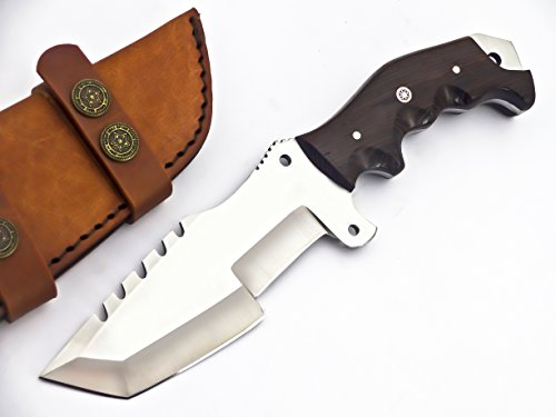 Poshland Knives TR-2149- CUSTOM HANDMADE D2 TRACKER KNIFE- BLACK MICARTA HANDLE