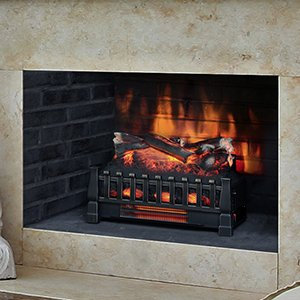 Glow Oak Log - Duraflame Electric DFI030ARU Infrared Quartz Set Heater Realistic Ember Bed Logs, Black