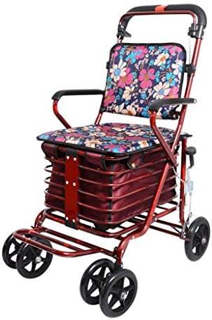 カート・ワゴン ウォーカー昔ながらの食べ物は小さなプルカート折りたたみウォーカー四輪ショッピングスクーターに座るためにプッシュすることができます (Color : Red, Size : 50*62*90cm)