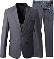 Winwinus Mens 3-Piece Set Style Fitted Chinses 3-Piece Suit Blazer Jacket Tux Vest /& Trousers Set