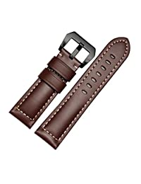 Welcomeuni FASHION 26MM Leather Watch Replacement Band Strap + Lugs Adapters For Garmin Fenix 3 / HR (BW)