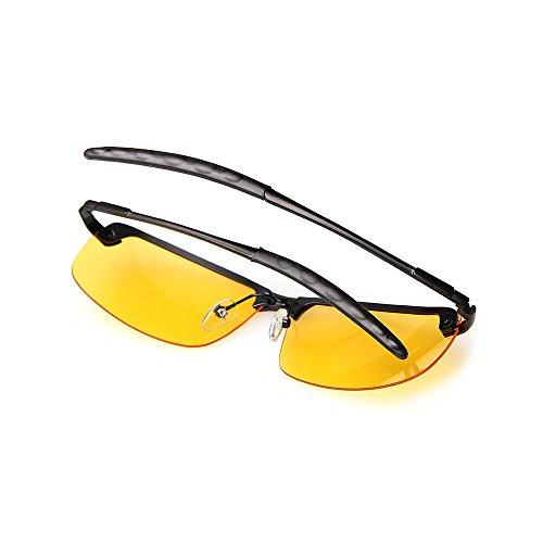 Sol Noche Metal Conducción AMZTM Gafas De De Visión Protección Gafas Noche Montura Gafas Media Polarizadas x8Sq6gw8