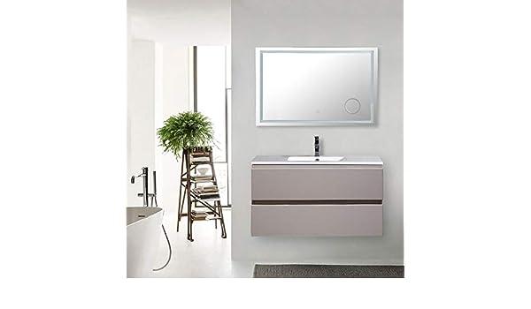 Mueble de baño suspendido 100 cm Light Coffee completo de espejo ...