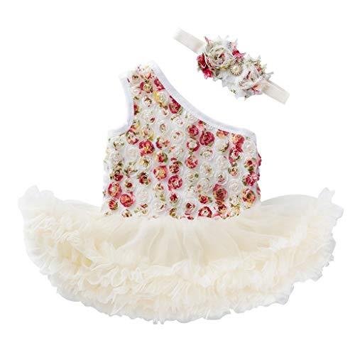 NUWFOR 2 PCS Toddler Baby Girls Sleeveless Flower Dress +Headband Outfits Set (Beige,6-12 Months)