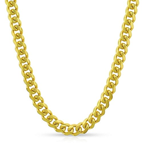 (14K Yellow Gold 4.5mm Solid Miami Cuban Curb Link Thick Necklace Chain 20
