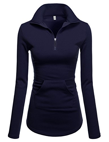NEARKIN (NKNKWTT791 Women Soft Fleece Lined Comfy Slim Cut Upturned Collar Zipup Tshirts Navy US S(Tag Size M)