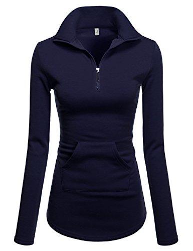 NEARKIN (NKNKWTT791 Women Soft Fleece Lined Comfy Slim Cut Upturned Collar Zipup Tshirts Navy US XXS(Tag Size XS)